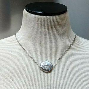 Genuine Baroque silver grey coin pearl necklace